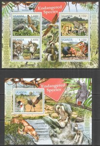 UG057 2012 UGANDA ENDANGERED SPECIES WILD ANIMALS BIRDS FAUNA #2800-3+BL377 MNH
