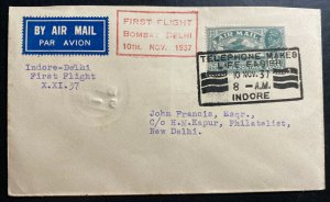 1937 Indore India First Flight Airmail cover FFC To New Delhi