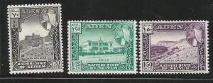 ADEN, SEIYUN 39-41 MINT HINGED 1964 SET OF 3