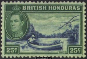 1938 British Honduras 25c Brown & Green, SG 157, MH
