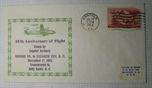 FFC 50th Anniv of First Flight Flown by Capital Airlines Norfolk VA 1953 cover