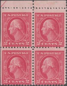 #500 FINE+ OG NH TYPE 1a BLOCK OF 4 WITH NATURAL SE AT LEFT CV $2200.00 HV1386