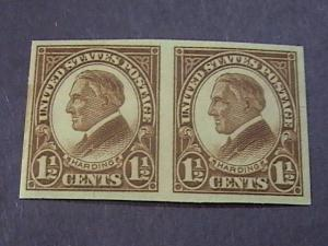 U.S.# 631-MINT/NH--YELLOW BROWN----IMPERFORATE PAIR-AS ISSUED--HARDING----1926