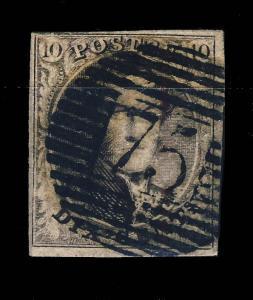 BELGIQUE ca.1851/8 oblit. à barres 75 LOKEREN sur N°6A 10c BRUN B/TB