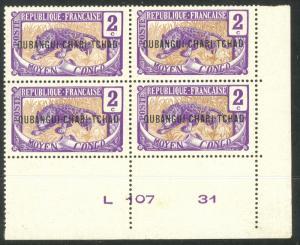 UBANGI-SHARI 1915-22 2c Leopard Sc 2 Plate No. Block of 4 MNH