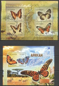 UG058 2012 UGANDA AFRICAN BUTTERFLIES FAUNA #2770-3+BL371 MNH