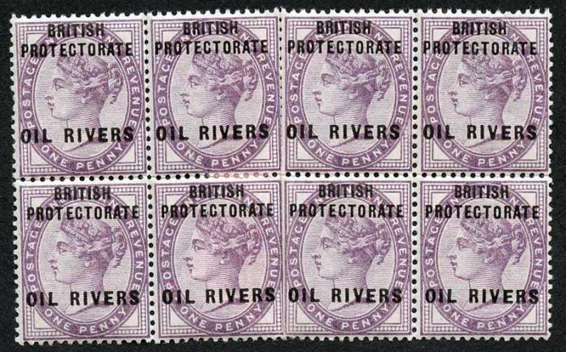 Niger Coast Protectorate SG2 1892-94 1d Lilac Block of 8 with Opt M/M