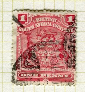 RHODESIA; 1898 early Springbok issue used Shade of 1d. value