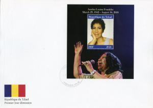 Chad 2018 FDC Aretha Franklin 1v M/S Cover Music Celebrities People Stamps