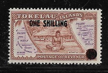TOKELAU  5 MNH MAP & SCENE ON ATAFU SURCHARGED ISSUE 1956