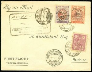 EDW1949SELL : M. EAST Beautiful 1928 First Flight cover to Bushire.