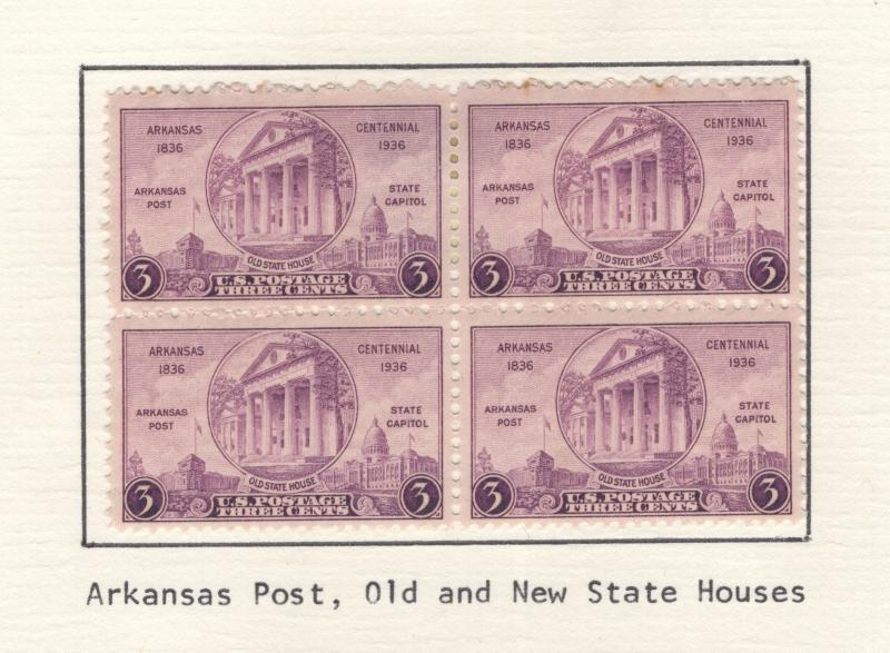US 1936 Stamps Arkansas Centennial Block of 4 Scott 782 MH