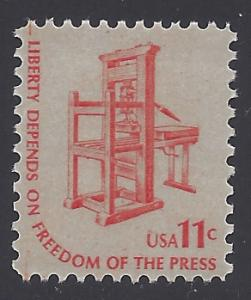 #1593 11c  Liberty Depends On Freedom Of The Press 1975 MNH
