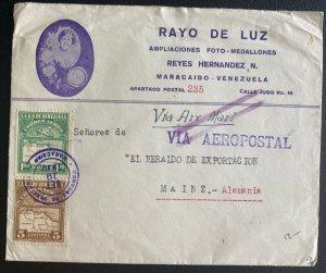 1930 Maracaibo Venezuela Advertising Photo Studio Cover To Mainz Germany