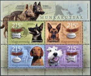 Hungary 2019. Working Dogs (MNH OG) Souvenir Sheet