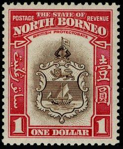 NORTH BORNEO SG315, $1 Brown & Carmine, LH MINT. Cat £150.
