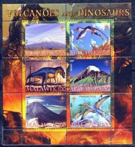 Malawi 2007 M/S Volcanoes Dinosaurs Prehistorics Animals Nature Stamps MNH (1)