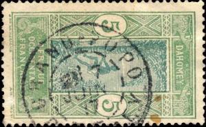 DAHOMEY - 1917 - CAD DOUBLE CERCLE GRAND-POPO / DAHOMEY SUR N°46
