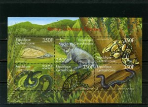 CENTRAL AFRICAN REPUBLIC 2001 REPTILES SHEET OF 6 STAMPS MNH