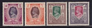 Burma Scott #'s 62 - 65 VFpreviously hinged nice colors cv $ 39 ! see pic !