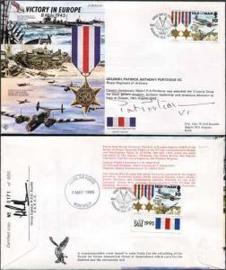 JS45/12FC Victory in Europe sign by Colonel Patrick Anthony Porteous VC. (K)