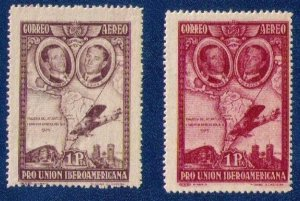 1930 MH Spain Variety Sc C55a and Sc C55 Air Post Stamps Very Fine Pair