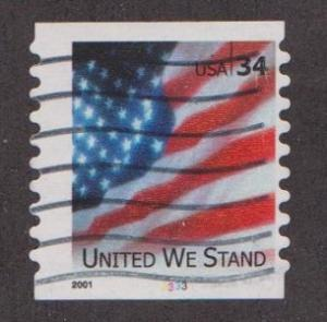 US #3550 United We Stand Used PNC Single Plate #3333