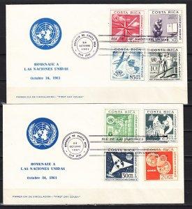 Costa Rica, Scott cat. C321-C328. U.N. Organizations issue. First day cover. ^