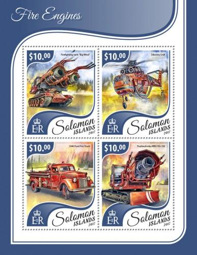 SOLOMON ISLANDS - 2017 - Fire Engines - Perf 4v Sheet - MNH