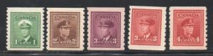 Canada Sc 263-67 1942 G VI War Issue coil stamp set mint NH