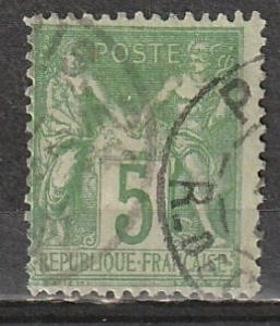 #67 France Used 5c grn/grnsh (scan not showing paper colour)