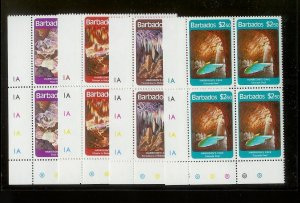 BARBADOS Sc#559-562 Complete Mint Never Hinged PLATE BLOCK Set