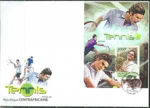 CENTRAL AFRICA 2013 TENNIS ROGER FEDERER SOUVENIR SHEET FIRST DAY COVER