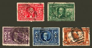 #323 - #327 1904 1c-10c Nice Used Louisiana Purchase Expo Set of 5
