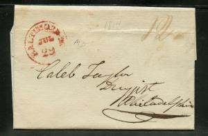 UNITED STATES JULY 29, 1817  STAMPLESS COVER BALTIMORE  TO PHILADELPHIA AS SHOWN