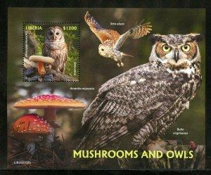 LIBERIA  2020 MUSHROOMS AND OWLS  SOUVENIR SHEET MINT NH