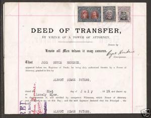Rhodesia Sc 118c/136 on 1919 Deed of Transfer, Fresh & VF