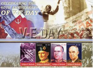 Antigua & Barbuda 2005 MNH WWII WW2 VE Day 4v M/S Montgomery Zhukov Stamps