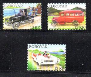 Faroe Islands Sc 567-9  2011 Old Cars & Trucks stamp set mint NH