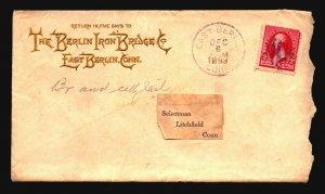 US 1893 Berlin Iron Bridge Gold Cachet Commercial Cover - Z18625