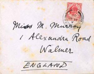 Gibraltar 1d KEVII 1908 Gibraltar, 25 to Walmer, England.