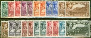 Montserrat 1938-48 Extended set of 22 SG101a-112 All Perfs & Shades Fine MNH CV