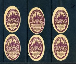 6 VINTAGE 1918 BRESLAUER FAIR  POSTER STAMPS (L774) BRESLAU GERMANY