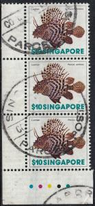 Singapore 1977 QEII $10 Lionfish Strip of 3 with Traffic Lights Postally Used
