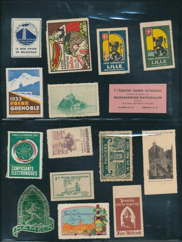 France Geneva Cars Expo Lille Old/mid Cinderella Poster Labels(Appx 80)W2241