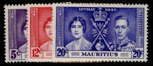 MAURITIUS GVI SG249-251, CORONATION set, M MINT.