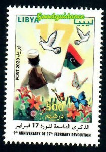 New 2020- Libya- 9th Anniversary of 17th February Revolution-Dove- Butterflies