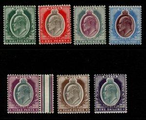 MALTA SG38/44 1903-4 WMK CROWN CA DEFINITIVE SET MTD MINT