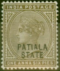 Patiala 1891 1a 6p Sepia SG17var Opt Mis-aligned V.F Very Lightly Mtd Mint