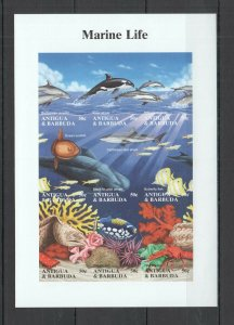 BZ066 IMPERFORATE ANTIGUA & BARBUDA FISH & MARINE LIFE 1KB MNH